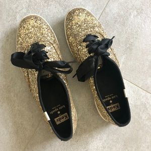 Kate Spade for Keds gold glitter sneakers